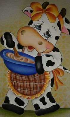 Discover thousands of images about Decupage Cow Pictures, Pictures To Paint, Cow Painting, Fabric Painting, Pinterest Pinturas, Cute Cows, Cow Art, Country Paintings, Cartoon Pics