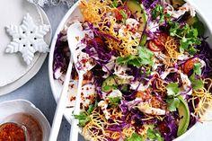 Turkey, avocado and crunchy noodle salad. Delicious Magazine Australia