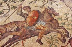 Detail of the magnificent Hunters mosaic of the Olmeda Roman Villa, Spain. 4th century, CE