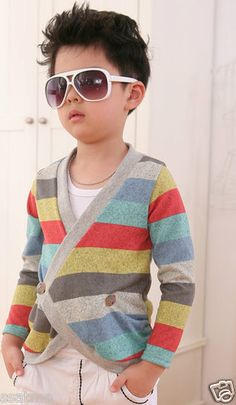BOYS BINY PIG MULTI COLOURED SOFT STRIPED CARDIGAN / JUMPER | eBay