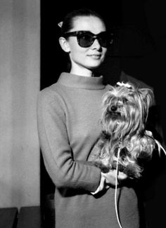 Audrey Hepburn with her dog Mr. Famous.