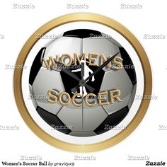 Women's Soccer Ball Large Clock by #Gravityx9 - Wall Decor for Women's Soccer players and fans! A Soccer Ball with a woman's silhouette, kicking a soccer ball, and is trimmed with a golden ring. This wall clock is available in two sizes of round, and also a square shape option! #Sports4you #Soccer #WallClock #SoccerClock #WomensSoccer