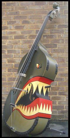 Classic custom paint job on an upright bass