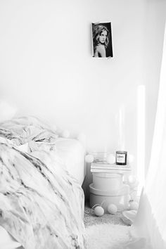☆wispy ethereal bedroom - white grey linens, flooring, walls