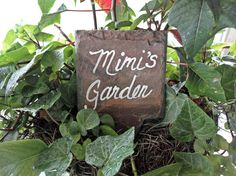 "- Handmade item - Materials: slate, paint, sealer Mimi's garden marker sign gardening tag, herb label, slate vegetable marker. Unique gift. Measures approx 4"" x 6"" and is cut from recycled slate gathe"