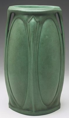 "Teco vase, shape #301, undocumented, attributed to Fritz Albert, double handled shape covered in a good green matte glaze, impressed marks, 8""w x 13.5""h"