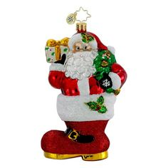 Christopher Radko Glass Kickin Christmas Santa Claus in Boot Ornament 1016165 -- This is an Amazon Affiliate link. Check this awesome product by going to the link at the image.