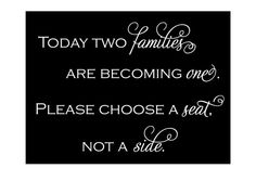 Choose a Seat not a Side  custom wedding sign  photo by back40life, $29.00