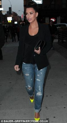 Kim Kardashian wearing Hermes Medor Clutch, Jet Jamie Roll Up Slim Leg Jeans and Christian Louboutin Pigalle 120mm Yellow Pumps.