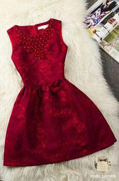 Bright red brocade dress