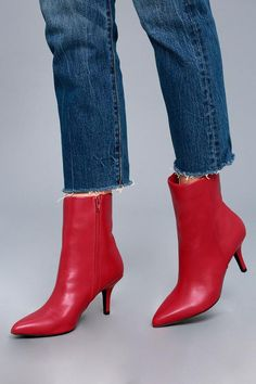 0b144c315bef8 The sidewalk is your runway in the East Village Red Mid-Calf Boots! Sleek  vegan leather shapes a pointed toe upper