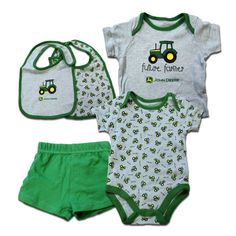 4 Piece Infant John Deere Set Gray and Green With Little Tractors – GreenToys4u.com