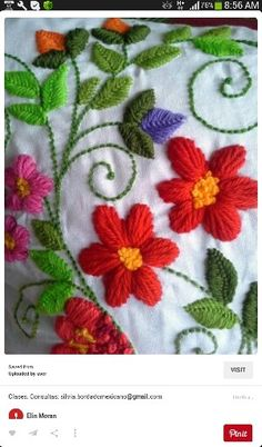 Pin by Yafit Rabenu on embroidery Mexican Embroidery, Crewel Embroidery Kits, Hungarian Embroidery, Brazilian Embroidery, Silk Ribbon Embroidery, Hand Embroidery Patterns, Floral Embroidery, Cross Stitch Embroidery, Crochet