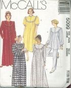 An unused original ca. 1990 McCall's Pattern 5099.  Misses' Sleepwear:  Misses' front buttoned robe, nightgown in two lengths or pajama top with front bodice buttons; purchased piping or eyelet trim variations; long or short sleeves; pull-on pajama pants with elastic at waist.