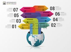 graphic design: Globe with arrows. Infographic design template. Illustration