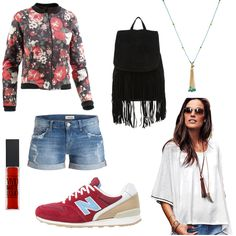 OneOutfitPerDay 2016-06-16 - #ootd #outfit #fashion #oneoutfitperday #fashionblogger #fashionbloggerde #frauenoutfit #herbstoutfit - Frauen Outfit Outfit des Tages Sommer Outfit Brax Flower-Power Flowerprint Jacke Kette Maybelline Neighborhood New Balance Poncho Poncho-Shirt Rich & Royal Rucksack Shorts Sneaker sweet deluxe Tagesrucksack Topshop