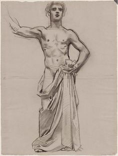 John Singer SARGENT. Apollo and the Muses - Apollo (sketch of Apollo for Apollo anf the Muses) [charcoal and graphite pencil on paper], 1917-1921.