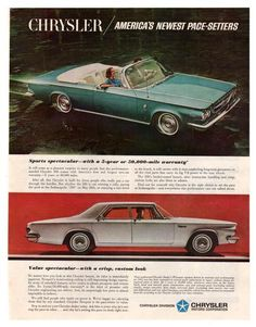 "Vintage and original Chrysler 300 and Chrysler Newport convertible car paper print ad from 1963 magazine. This ad shows a Blue Chrysler 300 and a White Chrysler Newport. Reads, ""Chrysler / America's N"
