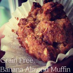 Grain Free, Banana Almond Muffins.