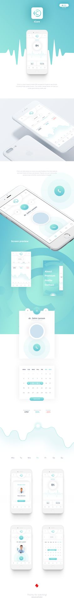 iCare Free Mobile App PSD on Behance – Design is art App Ui Design, Application Ui Design, Web Design Mobile, Icon Design, Design Web, Interface Web, User Interface Design, Ui Ux Designer, Icon Set