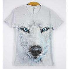 These eyes are so magnetic. Cool realistic 3D wolf print T-shirt for him. I love it!!!!