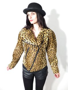 Vintage 80's Leopard Cheetah Print Plush Crop Punk Rock Glam Jacket Size M Made in Italy