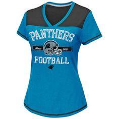 704caa293 Carolina Panthers Women s Champion Swagger V-Neck T-Shirt - Panther Blue Nfl  T