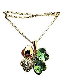 Four Leaf Clover Heart Shaped Swarovski Elements 18K Gold Plated Pendant Necklace https://www.amazon.com/gp/product/B06XFZZQ5R/ref=ag_xx_cont_xx	 #4leafirishclovernecklace #StPatricksDayNecklace #GoldShamrocknecklace