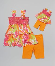 Look what I found on #zulily! Pink & Orange Floral Tunic Set & Doll Outfit - Girls by Dollie & Me #zulilyfinds