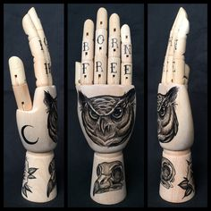 Wooden hand mannequin/model with original drawings of an owl / owl skull / rose and moon 'tattoo style'