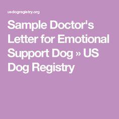Sample Doctor's Letter for Emotional Support Dog » US Dog Registry ...