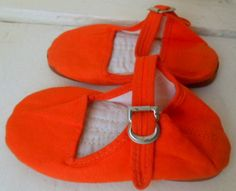 Vintage bright orange toddlers Chinese Slippers by houuseofwren