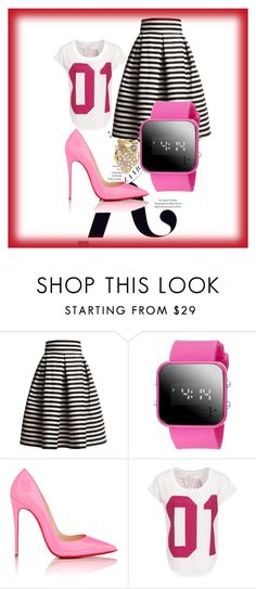 """""""pretty & pink for breast cancer"""" by queencastle ❤ liked on Polyvore featuring KAROLINA, Rumour London, Christian Louboutin, NIKE and Kate Spade"""