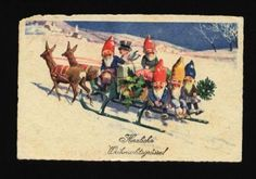 073650 Funny Gnomes Angel on Deer Unsign Feiertag Vintage PC | eBay--$28 buy it now by lovelystamps