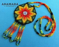 Star necklace, Native American Necklace, Round necklace, Huichol necklace, Mexican Necklace, Mexican Jewelry, Huichol beadwork, CRM-0061