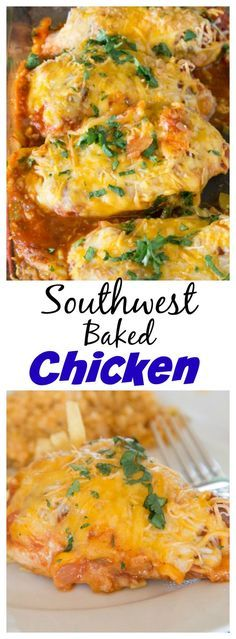 Southwest Baked Chicken – a baked chicken recipe that is ready in no time, with tons of flavor. Just 4 ingredients and dinner is done!
