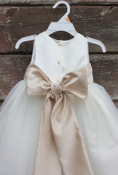 Flower Girl Dresses IVORY with Champagne FD0FL by BabyFillbach