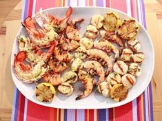 GZ's Grilled Seafood Platter Recipe | Geoffrey Zakarian | Food Network Grilled Fish Recipes, Grilled Seafood, Fish And Seafood, Grilling Recipes, Tilapia Recipes, Grilled Salmon, Seafood On The Grill, Grilled Oysters, Grilled Meat