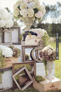 hydrangeas, vintage mirrors and fresh grapes make up this romantic wedding vignette. | CHECK OUT MORE IDEAS AT WEDDINGPINS.NET | #weddings