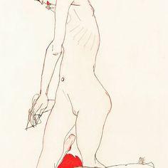 Girl leaning on a red cushion, 1913 #womeninart #schiele #egonschiele #vienna