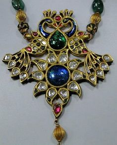 Antique 22 K solid gold Peacock necklace kundan meena polki diamond