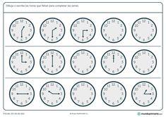 Ficha de series de relojes analógicos para niños de quinto de primaria. Completa estas interesantes series con nuestras fichas gratuitas.