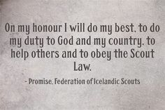 Iceland Girl Guide and Boy Scout Promise | World Thinking Day