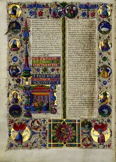 Taddeo Crivelli - Bible of Borso d'Este - 1455-61. The illuminations are by a team of artists led by Taddeo Crivelli and Franco dei Russi that also included Girolamo da Cremona, Marco dell'Avogadro, and Giorgio d'Alemagna. The text was written in a fine Renaissance hand by the Bolognese scribe Pietro Paolo Marone.: