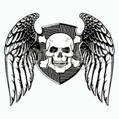 Skulls Winged Skull Crest (B&W) printed t-shirts. $15.00.  As easy as 1…2….3… 1. Pick a design & shirt style (long-, short-sleeves, & color) 2. Tell us where to print it (front or back) 3. You enjoy it!  Click here for more Skull prints; http://www.909threads.com/product-p/12674a.htm.