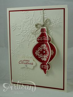 Stamps: Ornament Keepsakes, Petite Pairs  Paper: Cherry Cobbler, Very Vanilla  Ink: Cherry Cobbler  Accessories: Holiday Ornaments Framelits Dies, Northern Flurry Textured Impressions Embossing Folder, Linen Thread, Rhinestone Basics, Decorator Label Punch