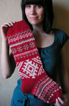 Items similar to Hand knit Christmas Stocking with folksy ornaments Personalized Christmas decoration Christmas gift on Etsy Knitted Christmas Stocking Patterns, Vintage Christmas Stockings, Christmas Knitting, Crochet Christmas, Knitting Charts, Hand Knitting, Knitting Patterns, Personalised Christmas Decorations, Knit Stockings