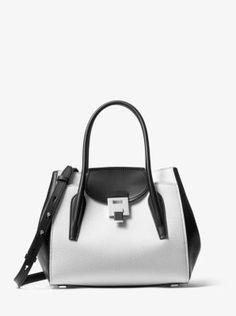 67ee687de1b4 Bancroft Medium Color-Block Pebbled Leather Satchel
