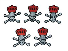 5 pieces crown and skull cross bone Iron on Sew on Embroidered Patch Applique Badge Motif >>> Check out the image by visiting the link.