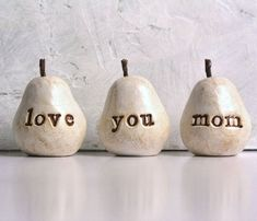 Birthday gift for mom ... love you mom ...Three handmade polymer clay pears ... vintage white